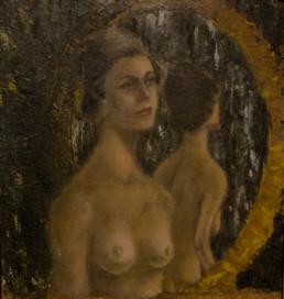 Pintura de mujer joven realizado por Fernando Peiró en 1954 en su estudio de Benicarló. Medidas 26x28. Epoca inicial del artista cuando aún copiaba de la realidad.