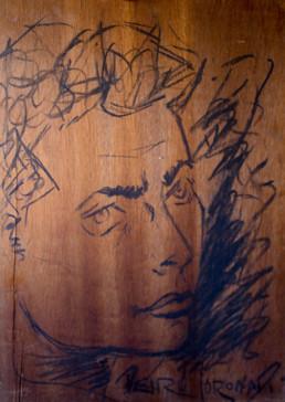 Retrato realizado por Fernando Peiró Coronado en 1954. Carboncillo sobre tabla, inicios de la trayectoria artística. Medidas 48x33.