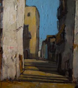Calle de Peñíscola. Pintura realizada en 1955 por Fernando Peiró Coronado. Medidas 63x55.