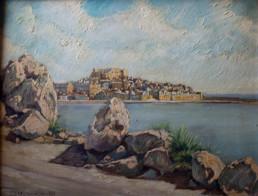 Peñíscola divisada desde el Sur. Pintura de Fernando Peiró Coronado realizada en 1955. Medidas 36x46.