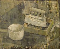 Bodegón. Oleo sobre tabla de Fernando Peiró Coronado pintado en 1957. Medidas, 39x48.
