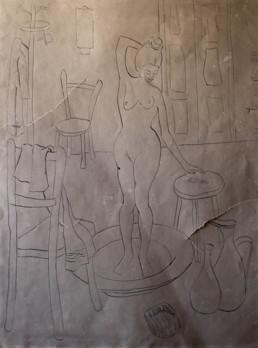 Dibujo, apunte de Fernando Peiró Coronado. Desnudo realizado en tinta sobre papel. Medidas 50x40.