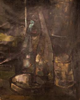 Oleo sobre lienzo de Fernando Peiró Coronado realizado en años de posguerra española. Oscuro y dramático. Medidas 60x50.