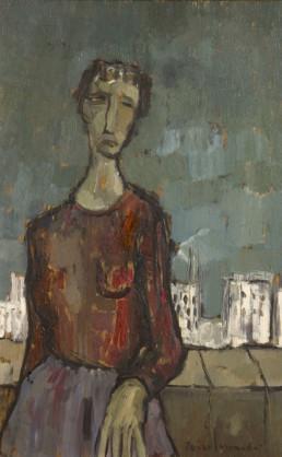 Obra de 1958 de Peiro Coronado. Posguerra española. Tristeza y penuria. Medidas 73x50.