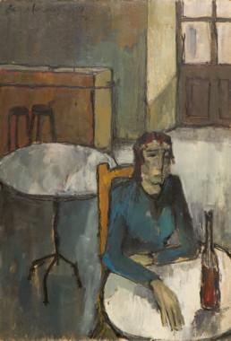 Oleo sobre tabla de Peiró Coronado de 1959. Postguerra española. Penurias y miseria. Colores tristes y oscuros. Medidas 92x73.