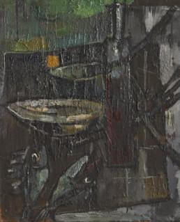 Pintura de Fernando Peiró Coronado 'Bodegón de tenedores y pescados', óleo sobre tabla pintada en 1960. Medidas, 73x59.