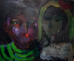 Pintura de Fernando Peiró Coronado 'Pareja' pintada en 1961, técnica óleo sobre lienzo. Medidas 33x41.