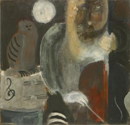 Pintura de Fernando Peiró Coronado 'El concierto de la musa' pintado en 1964 con pigmentos al látex sobre tabla. Medidas 70x67.
