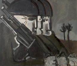 Pintura de Fernando Peiró Coronado 'Militares obsesos con fusiles' pintado en 1965 con pigmentos al látex sobre tablero. Medidas, 52x81.