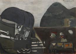 Pintura de Fernando Peiró Coronado 'La caja de los misterios' pintado en 1965 con pigmentos al látex sobre tabla. Medidas 52x72.