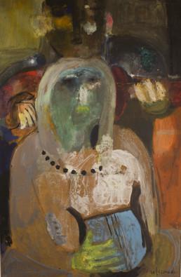 Pintura de Fernando Peiró Coronado 'Músicos en día de fiesta' pintado en 1965 con pigmentos al látex sobre tabla. Medidas, 78x50.