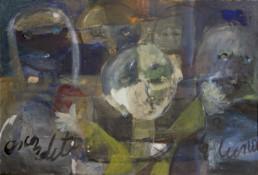 Pintura de Fernando Peiró Coronado 'Carmen jugando al escondite y con la luna' pintado en 1966. 52x76. Pigmentos al látex sobre cartulina encolada a tablero.