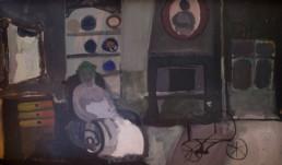 'Interior con niño transparente' pintura de Fernando Peiró Coronado pintada en 1966 con pigmentos al látex sobre tabla. Medidas, 84x50.