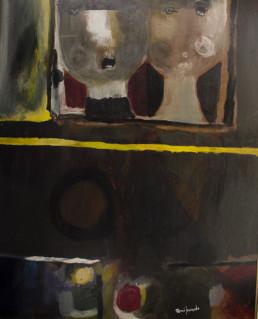 Pintura de Fernando Peiró Coronado Pareja indómita' pintado en 1966 con pigmentos al látex sobre tabla. Medidas 81x66.
