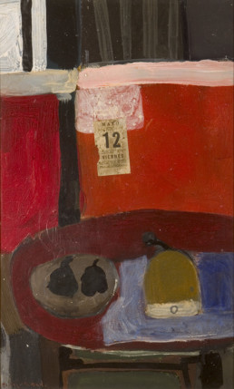 'Bodegón con mesa roja' obra de Fernando Peiró Coronado realizada en 1967 a base de pigmentos con látex sobre tablero. Medidas, 75x46.