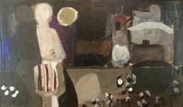 Pintura de Fernando Peiró Coronado 'Enamorados a la luz de la luna' pintado en 1967, técnica óleo sobre tabla. Medidas 22x33.