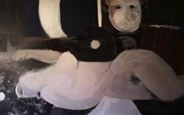 Pintura de Fernando Peiró Coronado 'Serenata nocturna' , técnica mixta pigmentos con látex sobre tablero. Medidas 63x94.