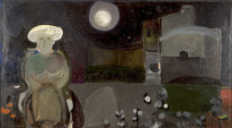 'En espera del poema' es una pintura realizada por Peiró Coronado en 1968, técnica pigmentos con látex sobre tablero. Medidas, 57x100.