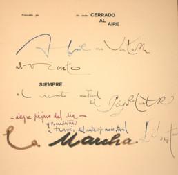 'Cansado ya de estar cerrado al aire', poema de Jose Antonio Labordeta. Medidas, 63x49. Acompaña a la pintura del mismo título realizada por el pintor Peiró Coronado