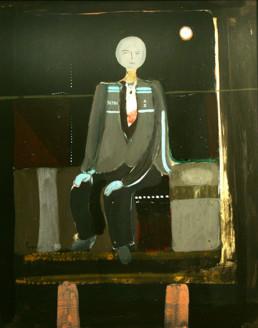 'Deshumanizarse', pintura de Peiró Coronado. que acompaña al poema del mismo título escrito por José Antonio Labordeta. 71x58.