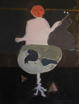 Pintura de Peiró Coronado que acompaña al poema de José Antonio Labordeta 'El domador de palomos'. Medidas 74x52. Pigmentos al látex sobre tabla