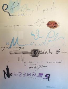 'El domador de palomos' es un poema escrito por José Antonio Labordeta y esgrafíado por el pintor Fernando Peiró Coronado. Medidas 63x49.