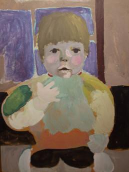 Pintura de Fernando Peiró Coronado, retrato de su hija en el momento de 'el sustito'. Medidas 61x45.
