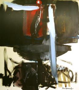 Pintura de Peiró Coronado que acompaña al poema 'Nada' escrito por José Antonio Labordeta. Medidas, 79x70.