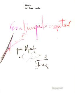 'Nada', poema de José Antonio Labordeta para la pintura de Fernando Peiró. Medidas 63x49