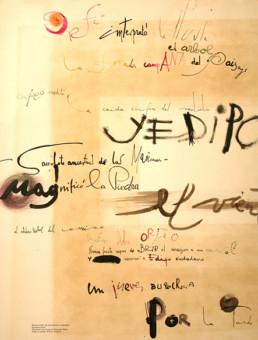 Poema 'Paisaje humano', escrito por José Antonio Labordeta en 1969 y esgrafíado por el pintor Peiró Coronado. Medidas, 63x49.