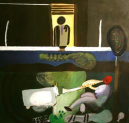Pintura realizada por el pintor Fernando Peiró Coronado. Medidas 70x66. Acompaña al poema 'Paisaje humano' escrito por José Antonio Labordeta.