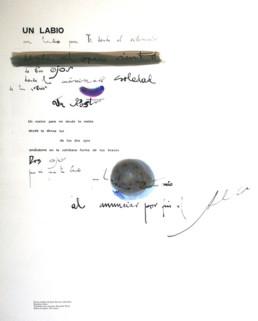 Poema 'Un rostro' escrito por José Antonio Labordeta y grafíado por el pintor Fernando Peiró Coronado. Medidas, 63x48.