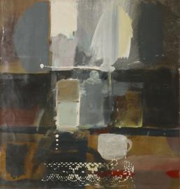 Pintura de Fernando Peiró Coronado, 'Entre los cacharros apareció la tacita', obra realizada con pigmentos al látex sobre cartulina. Medidas 51x48. Representación de una escena cotidiana