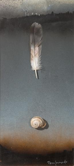 Pintura 'Poema' de Fernando Peiró Coronado realizada con spray, óleo, un caracol y una pluma sobre cartulina. Medidas, 40x16.