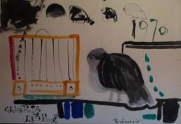 Cartel de presentación de la Exposición en la Galería Libros de Zaragoza, obra realizada con tinta china y óleo sobre cartulina. Medidas, 49x53.