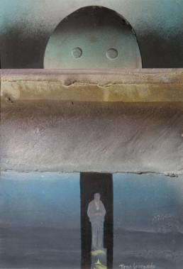 Pintura de Fernando Peiró Coronado, 'Hombre. Angelus Millet', obra realizada con spray y óleo sobre cartulina preparada con arena y látex. 35x24.
