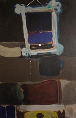 Pintura 'Recuedos' de Fernando Peiró Coronado , pigmentos sobre cartulina. Obra de la serie colaboración artística de Fernando Peiró y José Antonio Labordeta.