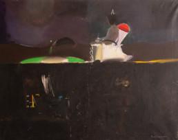 Pintura 'El poeta en busca de su palabra' de Fernando Peiró Coronado , óleo sobre lienzo. Medidas 73x92. Paisaje onírico.