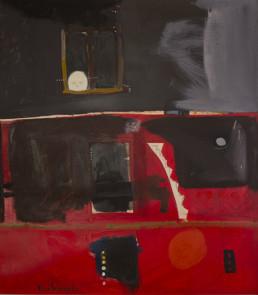 Pintura 'Mirar cada día' de Fernando Peiró Coronado sobre cartulina. Le acompaña un poema de José A. Labordeta con el mismo título. arena y látex.