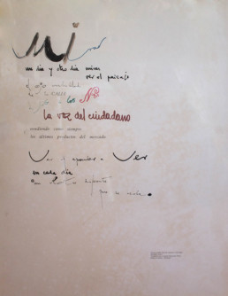Poema 'Mirar un día y otro día' de José Antonio Labordeta y grafíado sobre la cartulina por Peiró Coronado. Aventura compartida. 63x49.