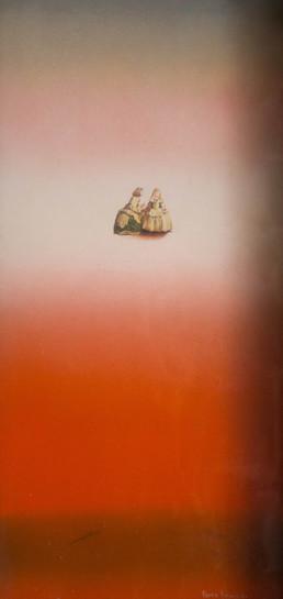 Pintura 'Acariciando la luz' de Fernando Peiró Coronado realizada con spray y collage sobre cartulina. Medidas 58x30.