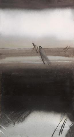 Pintura 'Correr sobre la ilusión del infinito' de Fernando Peiró Coronado realizada con spray y óleo sobre cartulina preparada. Medidas 51x27.