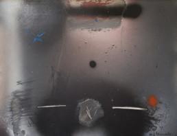 Pintura 'Génesis de mujer en el espacio' de Fernando Peiró Coronado realizada con spray y óleo sobre tabla preparada con polvo de mármol y látex.
