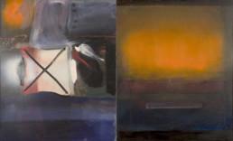 Pintura de Peiró Coronado, 'Formas en el cosmos', obra realizada con spray y óleo sobre tabla. Medidas 61x100. Colección de la familia Forés-Raga. Díptico