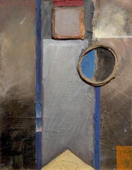 Pintura 'Atardecer en invierno' de Fernando Peiró Coronado realizada con óleo, cuerda y ceras sobre cartulina preparada con arena y látex.