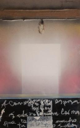 Pintura de Fernando Peiró Coronado, 'Carta a mi esposa', 50x32, obra realizada con spray, óleo, ceras y pluma sobre cartulina preparada con arena y látex. Medidas 50x32.