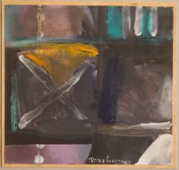 Pintura 'Atrapado entre dudas' de Fernando Peiró Coronado realizada con y ceras sobre cartulina. Medidas 22x21.