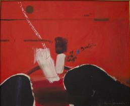 Pintura de Fernando Peiró Coronado, 'Con Bautista', obra realizada con óleo sobre lienzo. Dripping, raspaduras, números y caligrafías. 38x46.