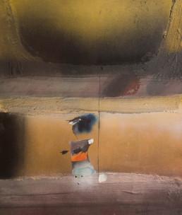 Pintura 'Paseando con la maga por espacios desconocidos' de Fernando Peiró Coronado realizada con spray y óleo sobre cartulina preparada con arena y látex.