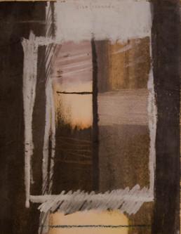 Pintura de Fernando Peiró Coronado, 'Tras la ventana', obra realizada con ceras sobre cartulina. Medidas, 24x16.